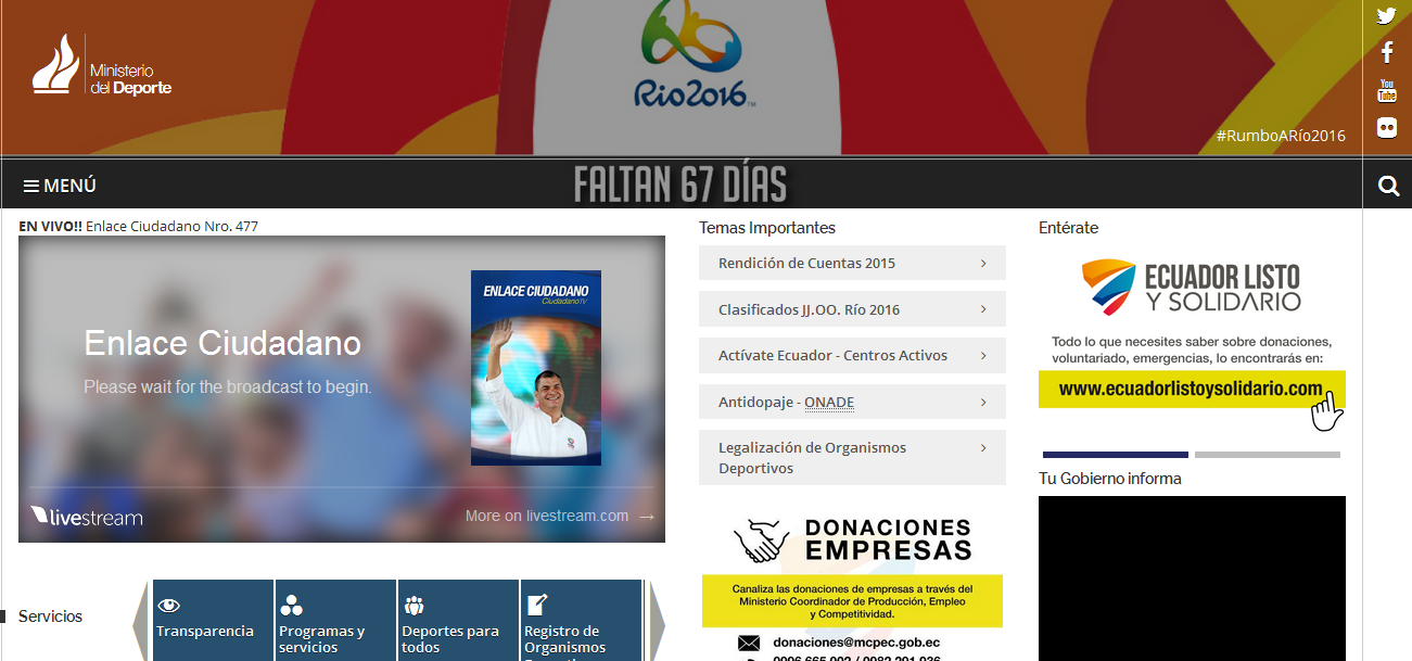 Ministerio del Deporte (www.deporte.gob.ec)