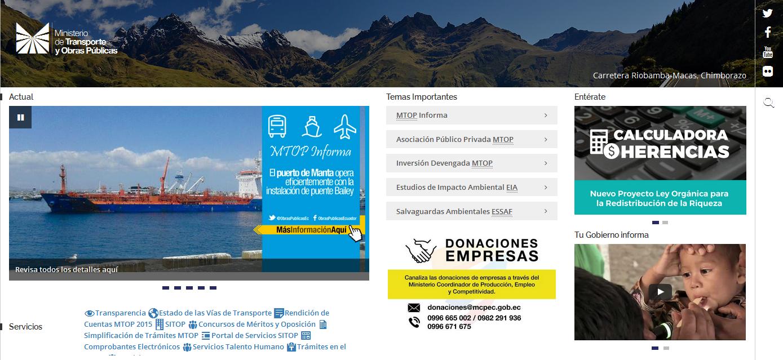 Ministerio de Transporte y Obras Públicas (MTOP) (www.obraspublicas.gob.ec)