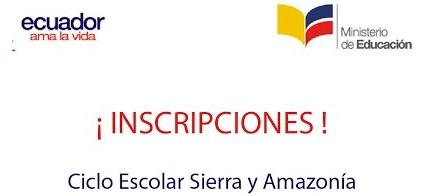 Proceso de Inscripciones Régimen Sierra y Amazonía