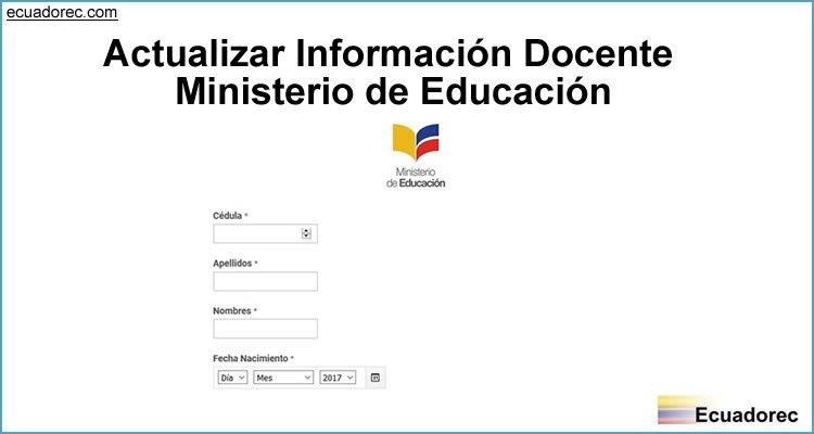Actualizar Información Docente Ministerio de Educación