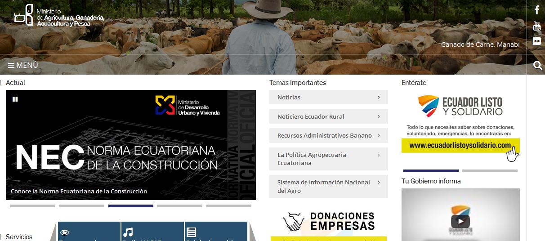 MAGAP Ministerio de Agricultura, Ganadería, Acuacultura y Pesca de Ecuador