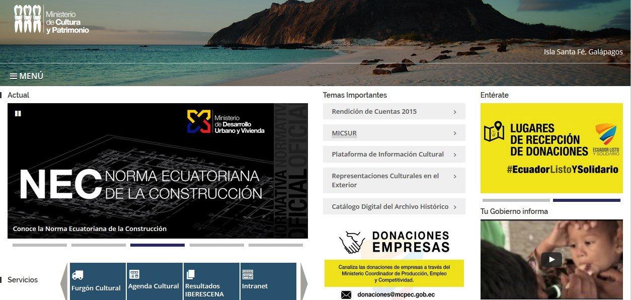 Ministerio de Cultura y Patrimonio (www.culturaypatrimonio.gob.ec)